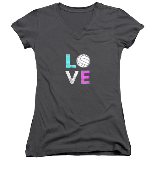 Girls Love Volleyball Best Fun Birthday Gift Tshirt Women's V-Neck