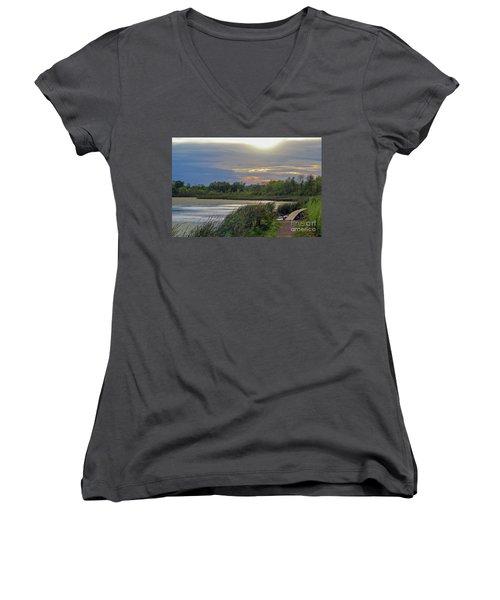 Golden Sunset Over Wetland Women's V-Neck