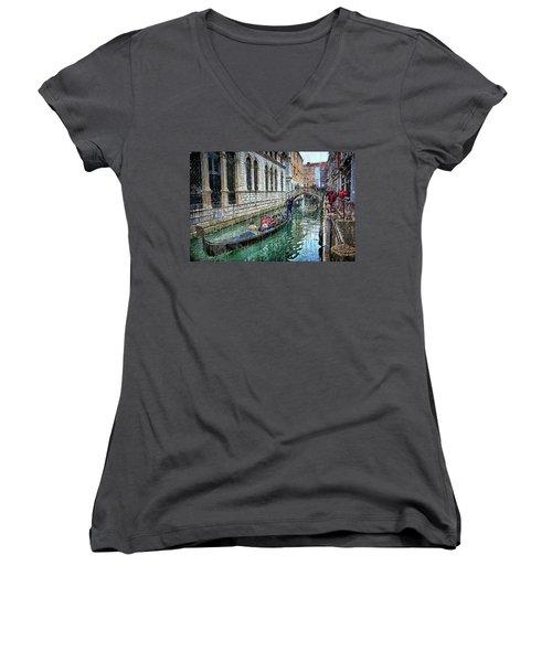 Women's V-Neck featuring the digital art Gondola Ride In Venice by Eduardo Jose Accorinti