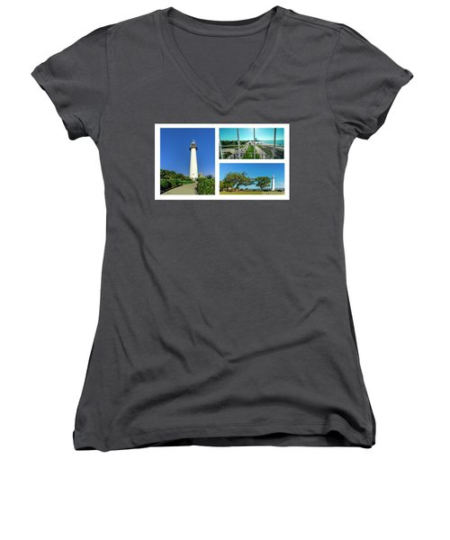 Grand Old Lighthouse Biloxi Ms Collage A1d Women's V-Neck (Athletic Fit)