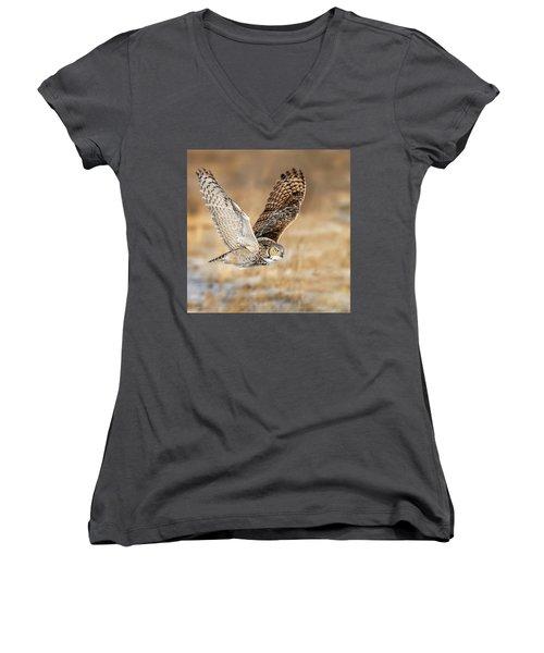 Great Horned Owl In Flight Women's V-Neck