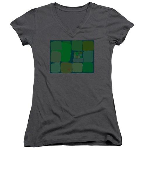 Women's V-Neck featuring the digital art Green by Attila Meszlenyi