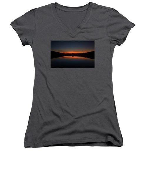 Sunset In The Reservoir Women's V-Neck