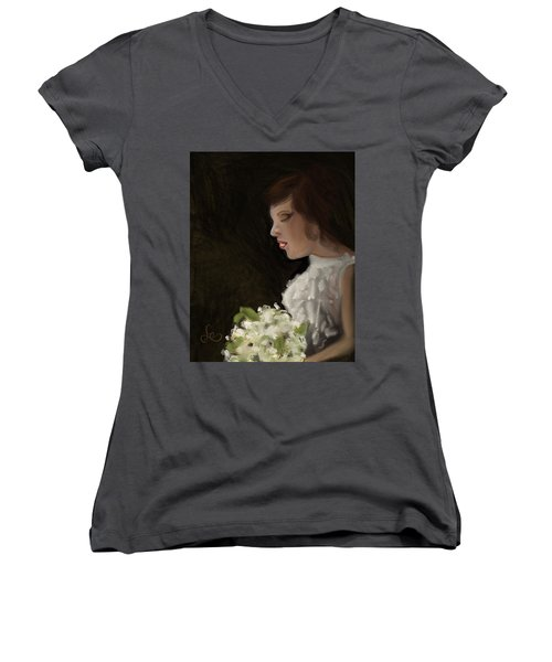 Women's V-Neck featuring the painting Her Big Day by Fe Jones