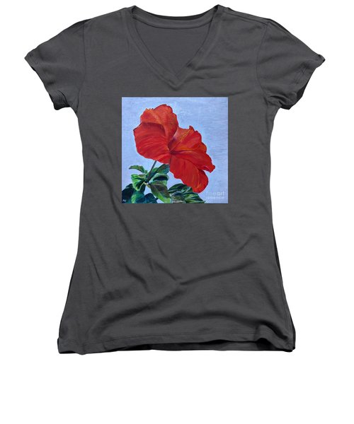 Hibiscus Women's V-Neck