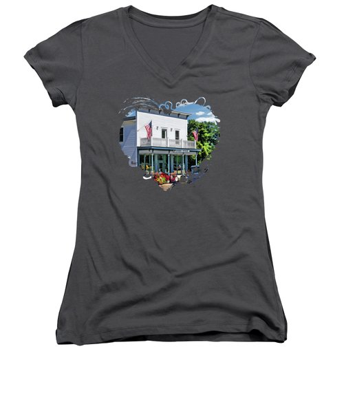 Historic Pioneer Store In Ellison Bay Door County Women's V-Neck