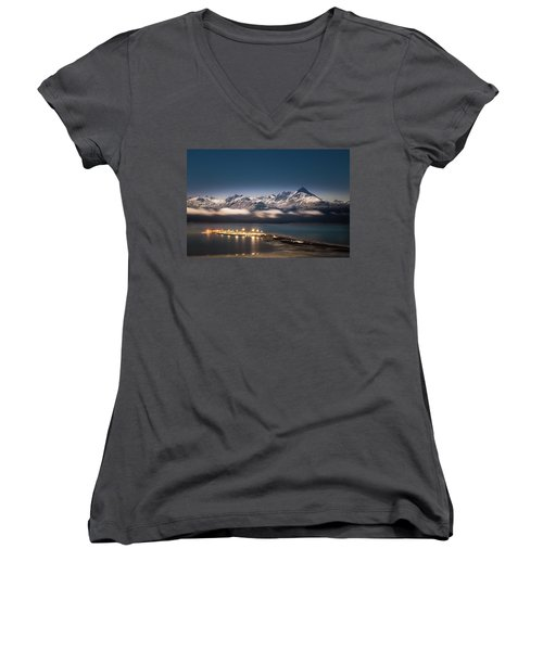 Homer Spit With Moonlit Mountains Women's V-Neck