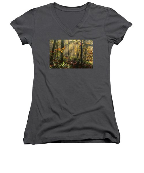 Horizontal Rays Of Sun After A Storm Women's V-Neck