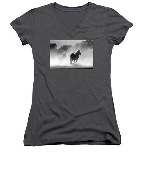 Horses On The Run Women's V-Neck