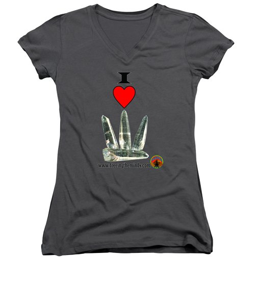I Love Lemurian Seed Crystals Women's V-Neck