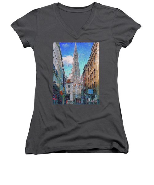 In-spired  Street Scene Brussels Women's V-Neck