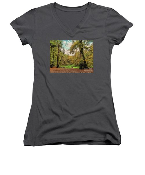 Women's V-Neck featuring the photograph In The Woods by Leigh Kemp