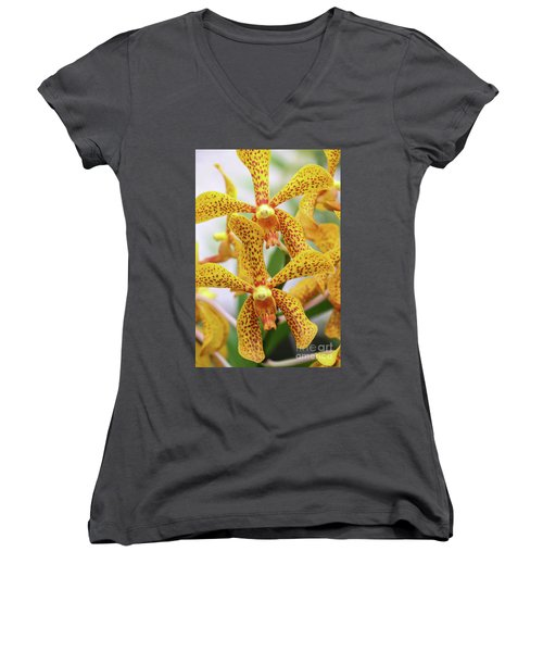 Intriguing Yellow Spider Orchids Women's V-Neck