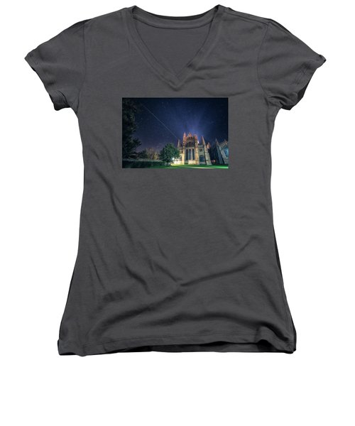 Iss Over Ely Cathedral Women's V-Neck