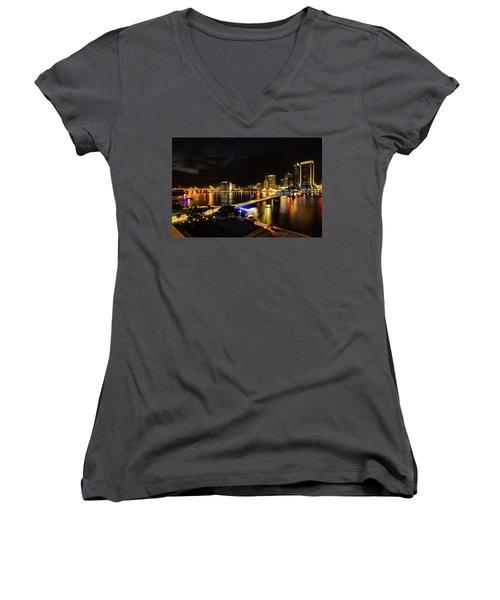 Jacksonville Skyline By Night Women's V-Neck