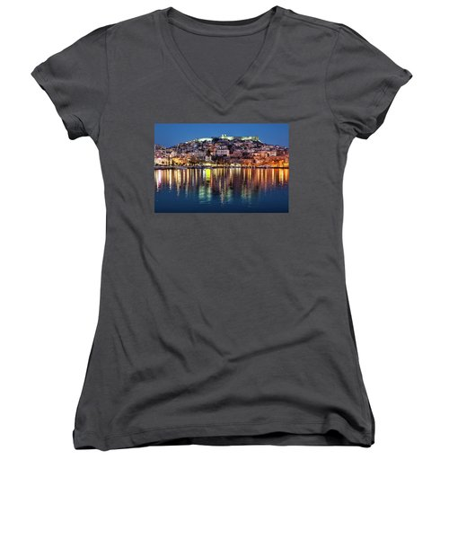 Kavala Town At Night Women's V-Neck