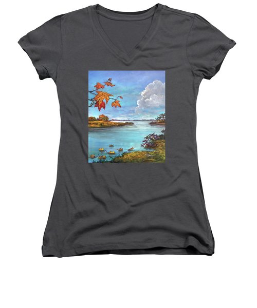 Kites, Clouds And Sailboats Women's V-Neck