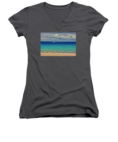 Lake Huron Sailboat Women's V-Neck