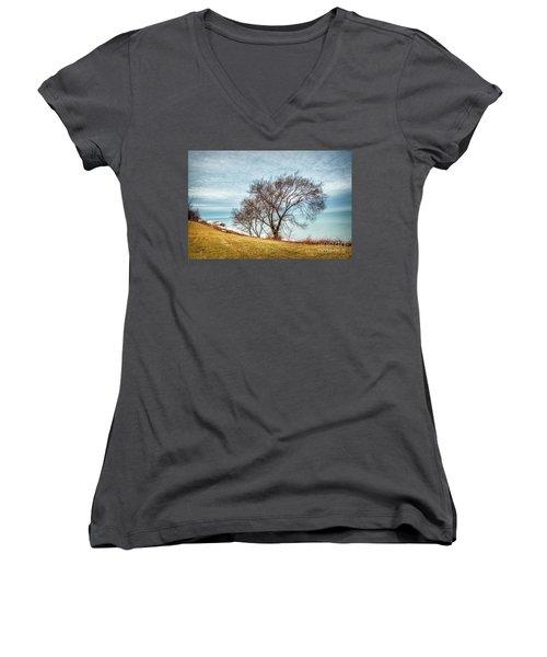 Lakeshore Lonely Tree Women's V-Neck