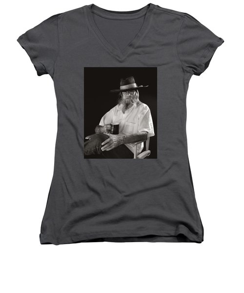 Women's V-Neck featuring the photograph Le Poete by Ron Cline