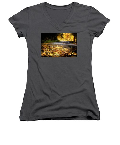 Leaves Along The Road Women's V-Neck