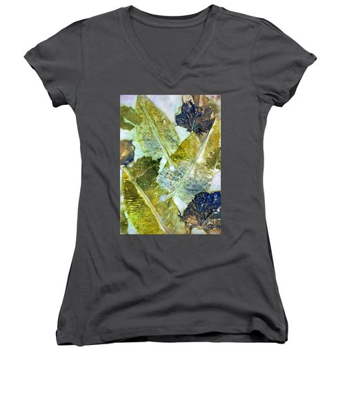 Leaves Of Nature Eco Dyed Print Women's V-Neck