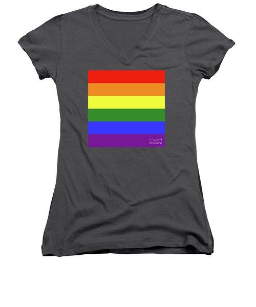 Lgbt 6 Color Rainbow Flag Women's V-Neck