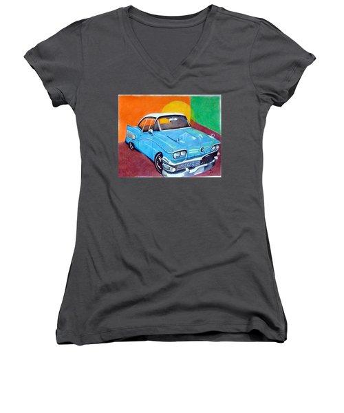 Light Blue 1950s Car  Women's V-Neck