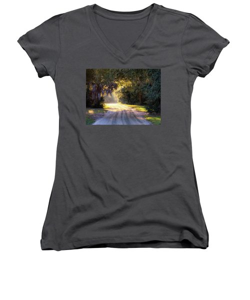 Light, Shadows And An Old Dirt Road Women's V-Neck