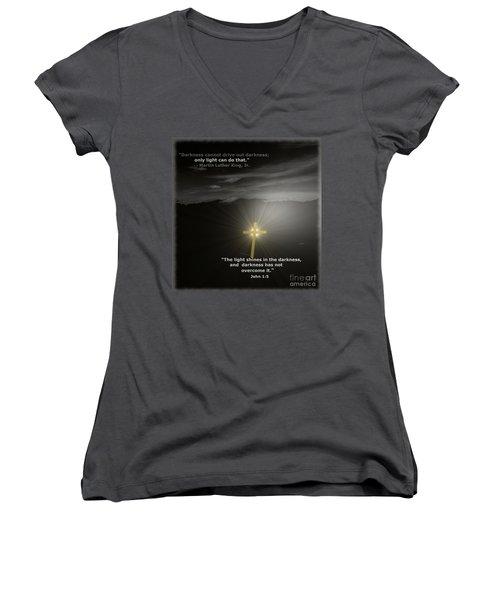 Light Shines In The Darkness Women's V-Neck