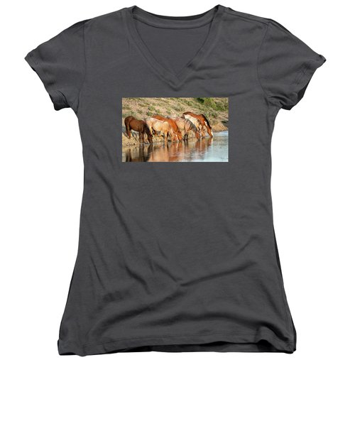 Lineup At The Pond-- Wild Horses Women's V-Neck