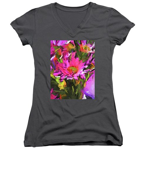 Lolly Pink Daisy Flower Women's V-Neck (Athletic Fit)