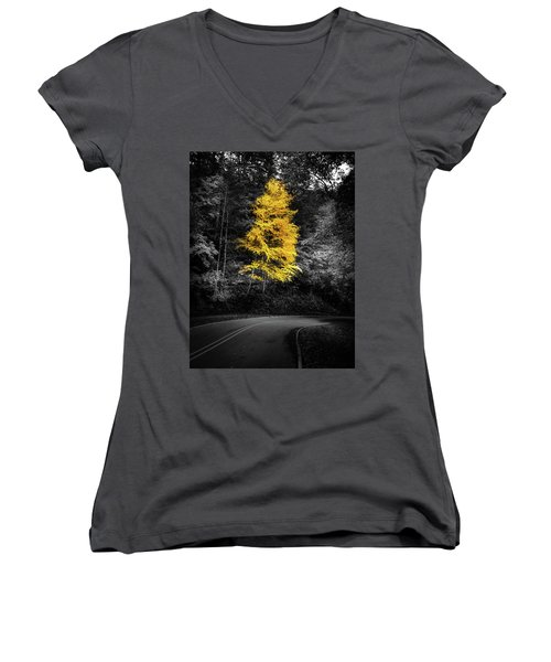 Lone Yellow Tree In The Curve Women's V-Neck