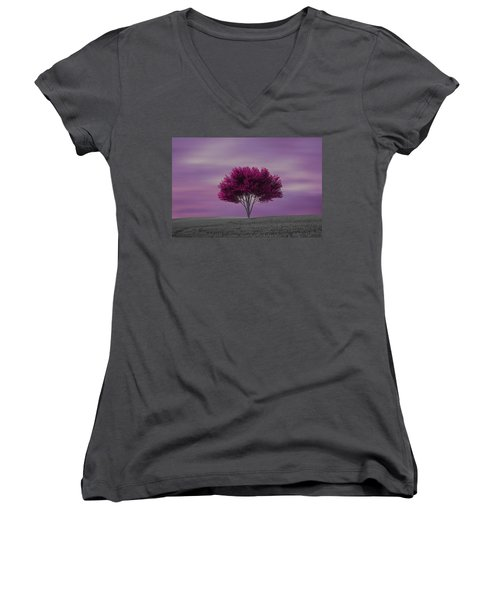 Lonely Tree At Purple Sunset Women's V-Neck