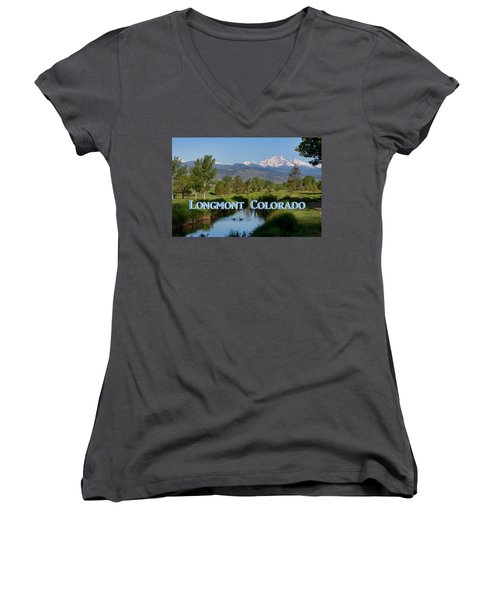 Women's V-Neck featuring the photograph Longmont Colorado Twin Peaks View Poster by James BO Insogna