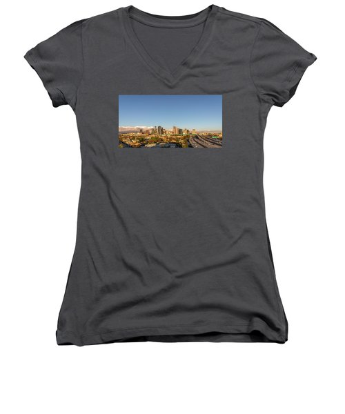 Los Angeles Skyline Looking East Panorama 2.9.19 Women's V-Neck