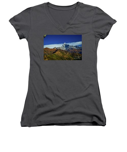 Machapuchare Mountain Fishtail In Himalayas Range Nepal Women's V-Neck