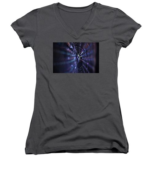 Macro Of A Spiders Web Captured At Night. Women's V-Neck
