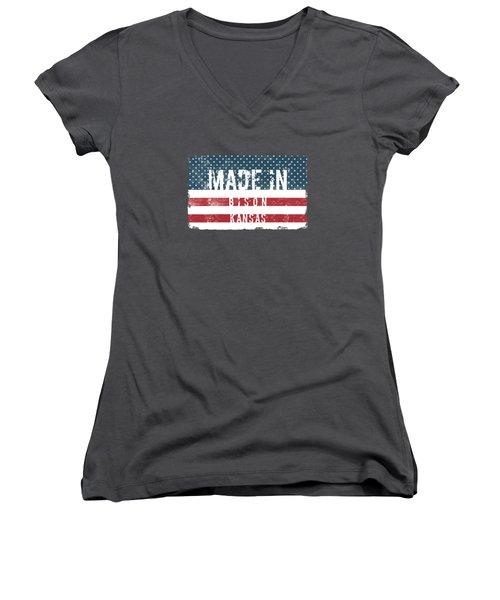 Made In Bison, Kansas Women's V-Neck