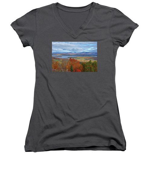 Maine Fall Colors Women's V-Neck (Athletic Fit)