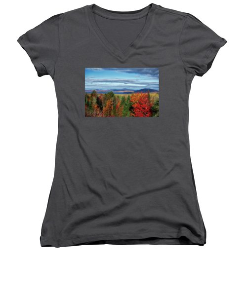Maine Fall Foliage Women's V-Neck (Athletic Fit)