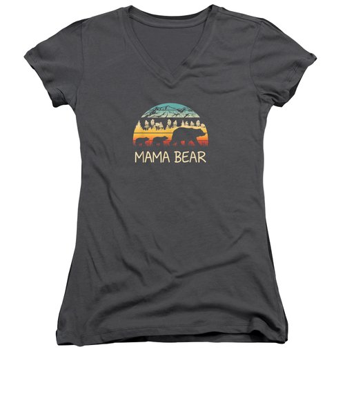 Mama Bear With 2 Cubs Shirt Retro Mountains Mother's Day Women's V-Neck