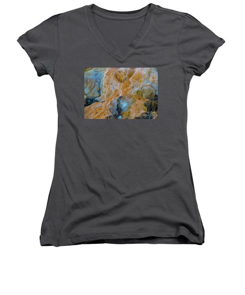 Women's V-Neck featuring the photograph Mammoth Hot Springs by Mae Wertz