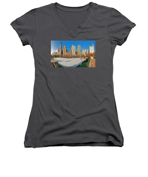 Mccormick Tribune Plaza Ice Rink And Skyline   Women's V-Neck