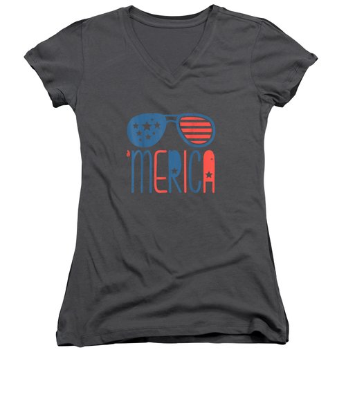 Merica American Flag Aviators Toddler Tshirt 4th July White Women's V-Neck