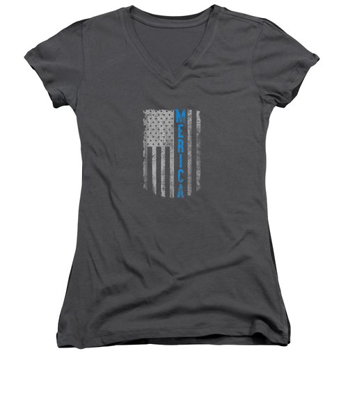 'merica American Flag Vintage Men Women Gift 2018 T-shirt Women's V-Neck
