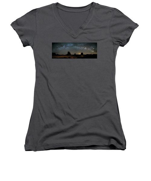 Milky Way Over Monument Valley Women's V-Neck