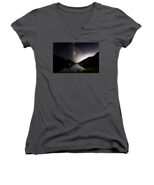 Milky Way Over The Ou River Near Longquan In China Women's V-Neck