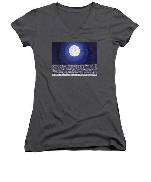 Moonbathing Original Painting Women's V-Neck