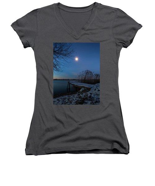 Moonlight Over The Lake Women's V-Neck